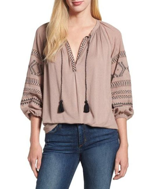 35b3fe79cc259 Lucky Brand - Multicolor Embroidered Peasant Blouse - Lyst