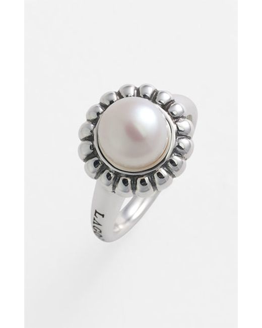 Lagos | Metallic 'luna Pearl' Fluted Ring | Lyst