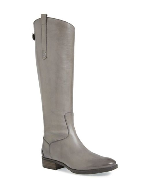 Sam Edelman | Gray Penny Wide Calf Leather Boots | Lyst