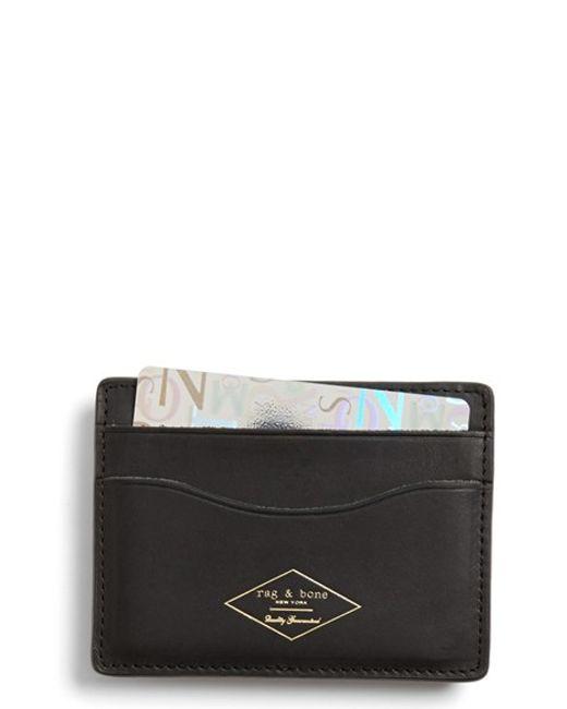 Rag & Bone | Black Leather Card Case for Men | Lyst