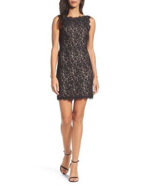 Adrianna Papell | Black Boatneck Lace Sheath Dress | Lyst