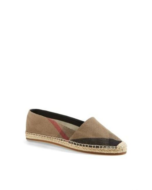 Burberry | Brown Hodgeson Check Print Espadrille Flat | Lyst