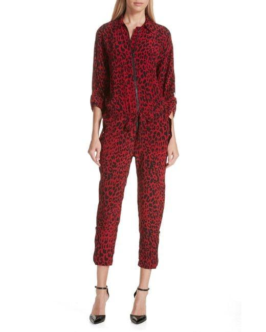 Robert Rodriguez - Red Leopard Print Crop Jumpsuit - Lyst