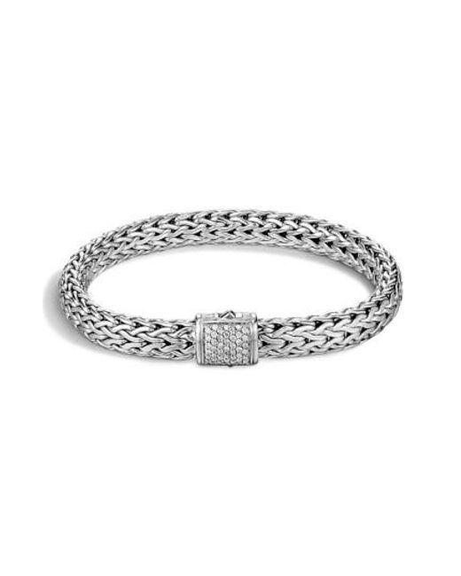 John Hardy | Metallic 'classic Chain' Diamond Medium Bracelet | Lyst