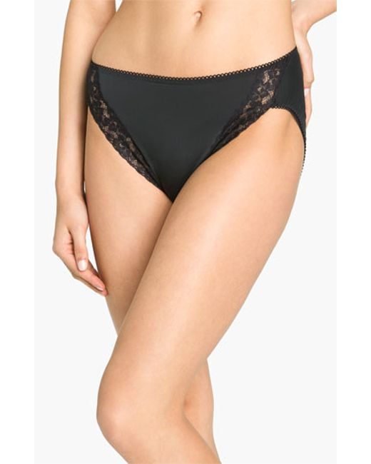 Wacoal | Black 'bodysuede' Lace Trim High Cut Briefs | Lyst