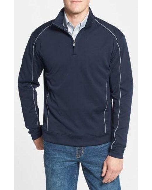 Cutter & Buck | Blue 'drytec Edge' Half Zip Mesh Pullover for Men | Lyst