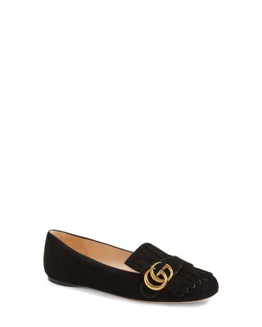 41996ae0f1c3d Gucci - Black Marmont Fringe Flat - Lyst ...