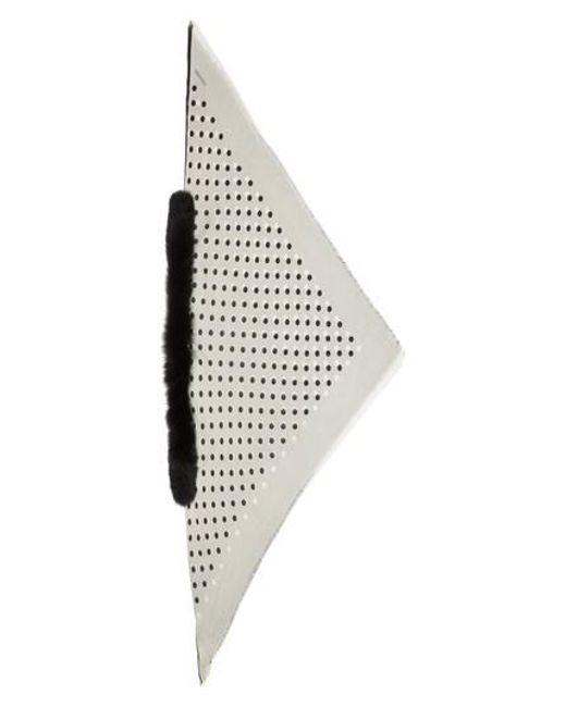 Valentino - Black Classic Dot Scarf With Genuine Fox Fur Trim - Lyst