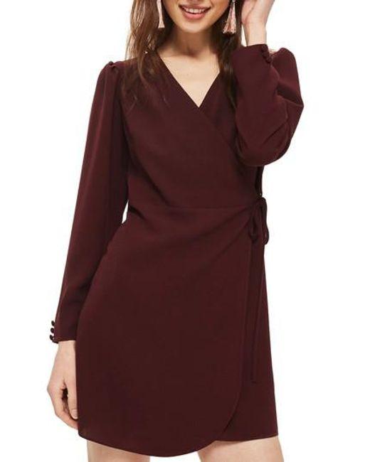 TOPSHOP | Purple Crepe Wrap Minidress | Lyst