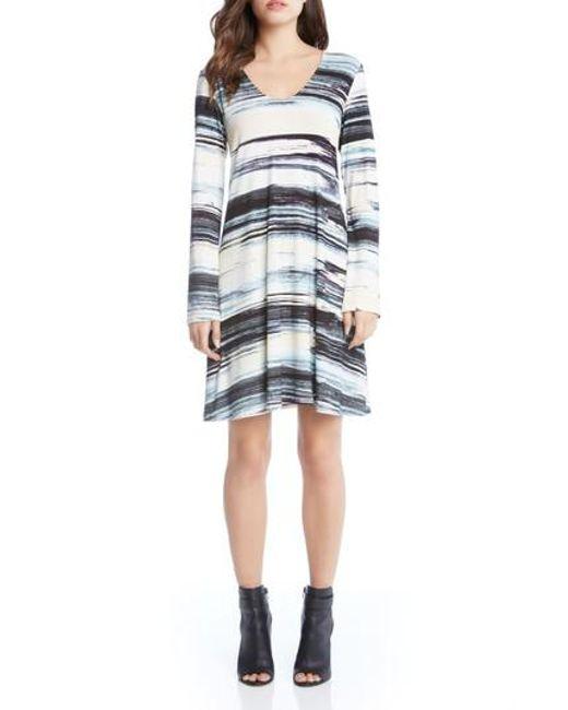 Karen Kane   Blue Taylor Brushstrokes Dress   Lyst