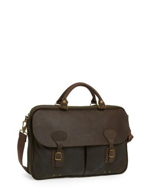 Barbour | Green Waxed Canvas Briefcase for Men | Lyst