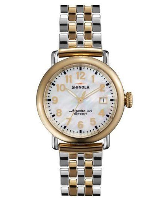 Shinola   Metallic 'the Runwell' Bracelet Watch   Lyst