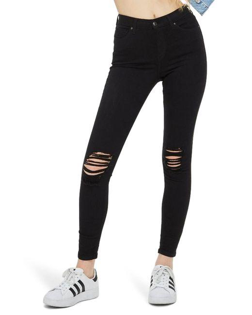 TOPSHOP - Black Moto Jamie Ripped Jeans - Lyst