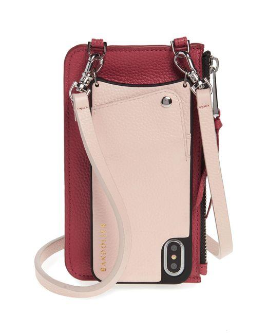 Bandolier - Pink Emma Leather Iphone X/xs Crossbody Case - - Lyst