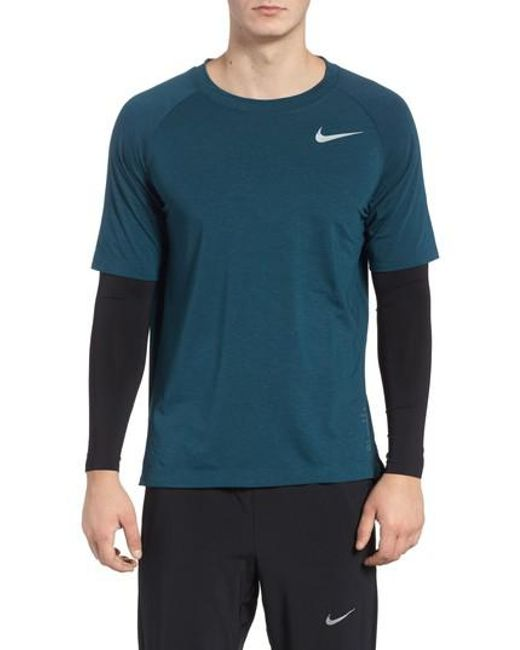 Nike - Blue Run Division Dry Layered Long Sleeve T-shirt for Men - Lyst