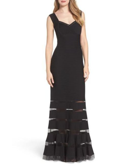 Tadashi Shoji | Black Mesh Inset Gown | Lyst