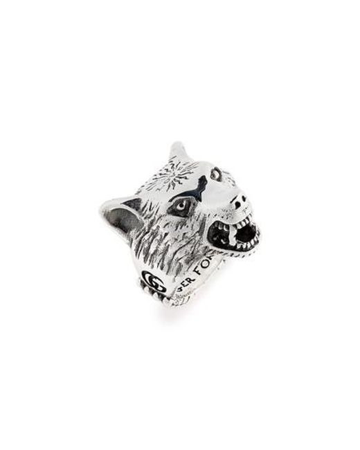 Gucci - Metallic Wolf Head Sterling Silver Ring for Men - Lyst