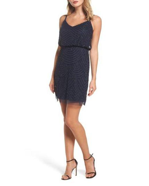 Adrianna Papell | Blue Sequin Mesh Blouson Dress | Lyst