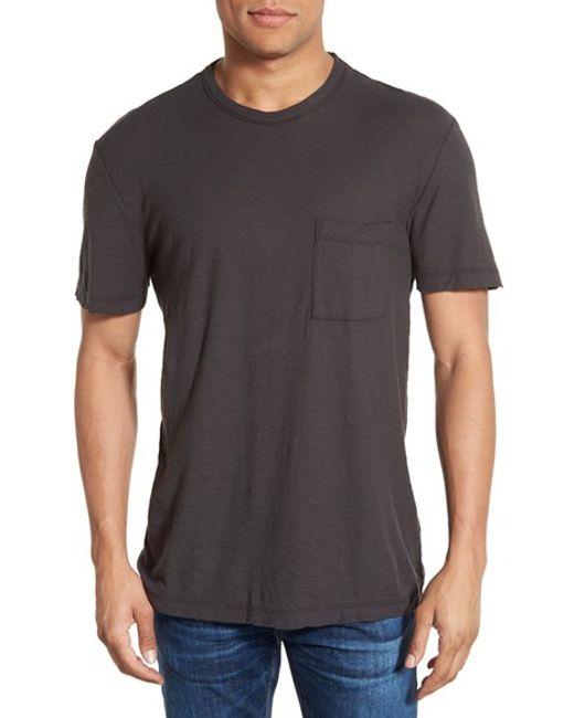 James perse classic slub crewneck pocket t shirt in grey for James perse t shirts sale
