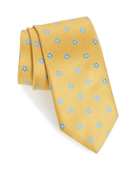 Canali - Yellow Medallion Silk Tie for Men - Lyst