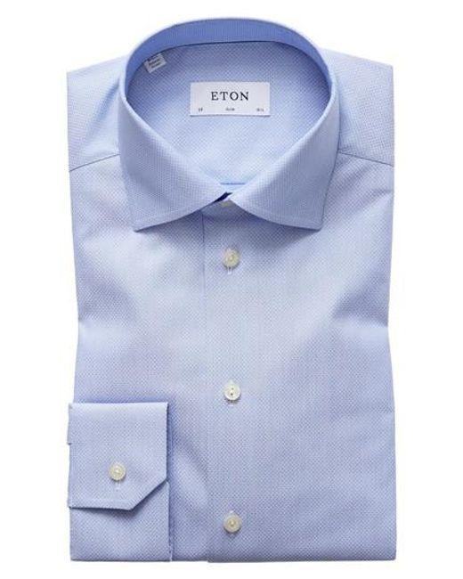 Eton of Sweden   Blue Slim Fit Dot Dress Shirt for Men   Lyst