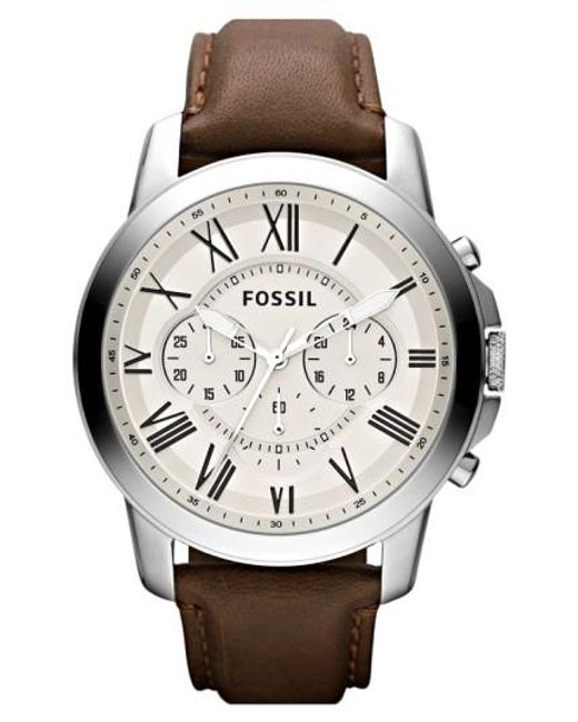 Fossil | Brown 'grant' Round Chronograph Leather Strap Watch for Men | Lyst