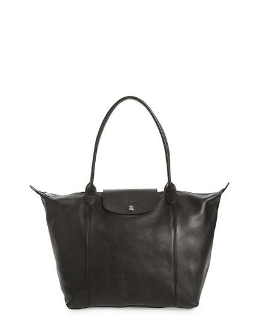 Longchamp - Black 'le Pliage Cuir' Leather Tote - Lyst
