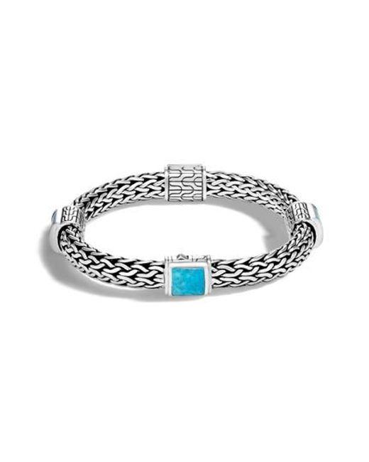 John Hardy | Metallic Classic Silver & Turquoise Chain Bracelet | Lyst