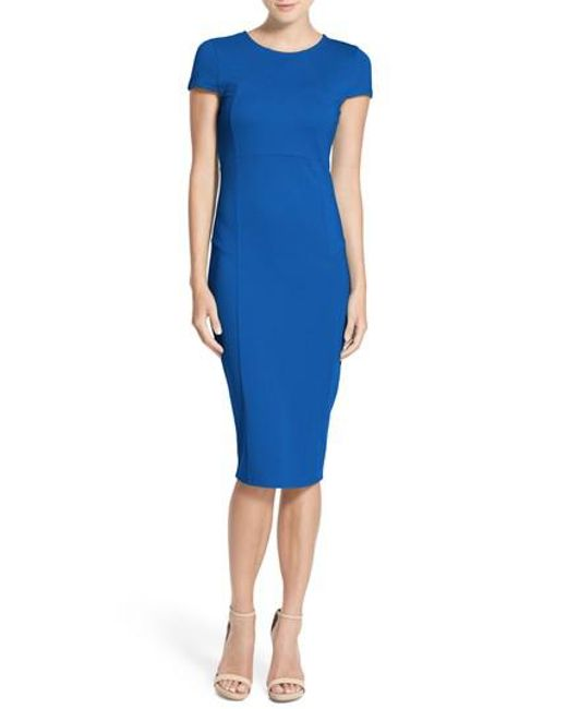 Felicity & Coco | Blue Seamed Pencil Dress | Lyst