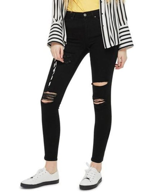TOPSHOP - Black Moto Leigh Super Rip Jeans - Lyst