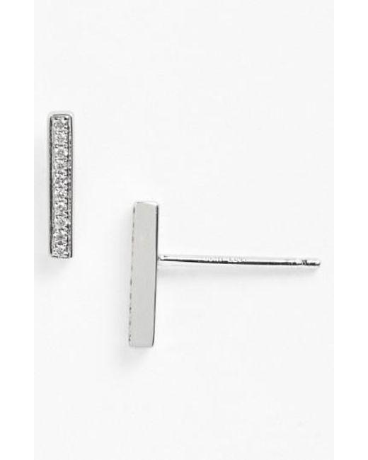 Bony Levy - White 'prism' Diamond Bar Stud Earrings (nordstrom Exclusive) - Lyst