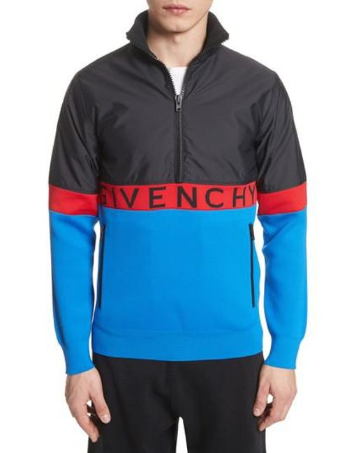 Givenchy Colorblock Pullover Track Jacket in Blue for Men | Lyst