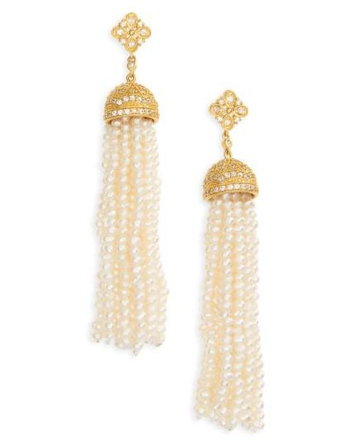 Freida Rothman   Metallic Audrey Waterfall Tassel Pearl Earrings   Lyst