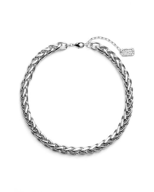 Karine Sultan - Metallic Braided Link Collar Necklace - Lyst