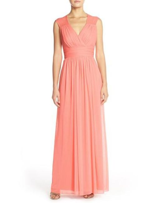 Alfred Sung | Orange Shirred Chiffon Cap Sleeve Gown | Lyst