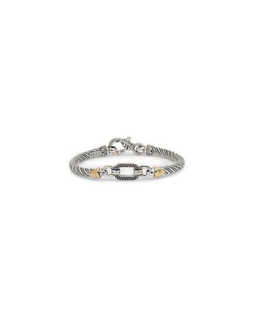 Konstantino - Metallic Hermione Silver & Gold Bracelet With Black Diamonds - Lyst