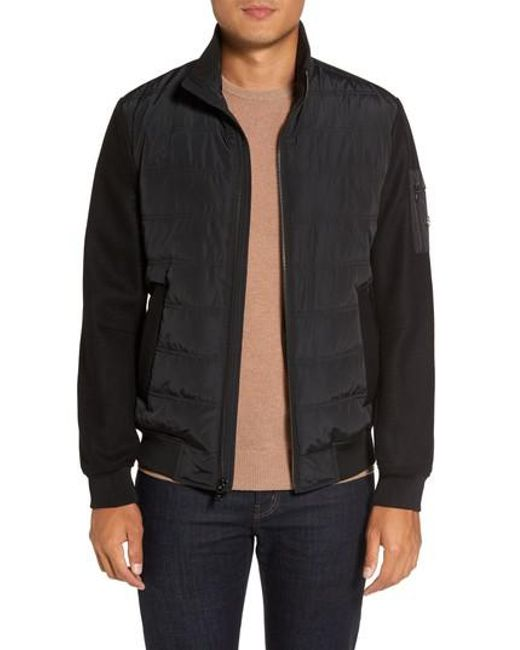 Michael Kors | Black Mixed Media Quilted Jacket for Men | Lyst