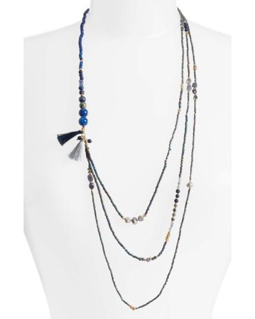 Nakamol | Blue Konia Multistrand Tassel Necklace | Lyst