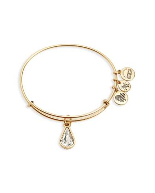 ALEX AND ANI - Metallic Birthstone Expandable Wire Bangle With Swarovski Crystal - Lyst