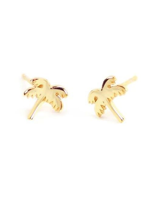 Kris Nations | Metallic Palm Tree Stud Earrings | Lyst
