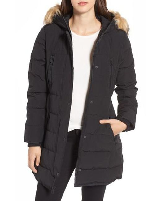 Guess | Black Hooded Jacket With Faux Fur Trim | Lyst