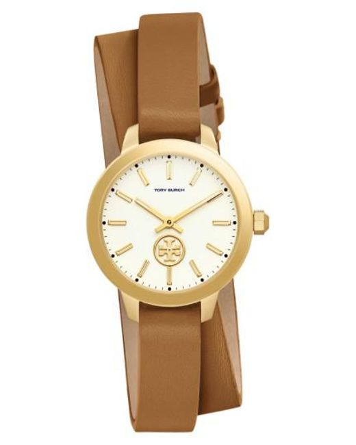 Tory Burch | Metallic Collins Double Wrap Leather Strap Watch | Lyst