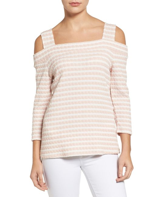 Kut From The Kloth - Multicolor Fridi Texture Stripe Cold Shoulder Top - Lyst
