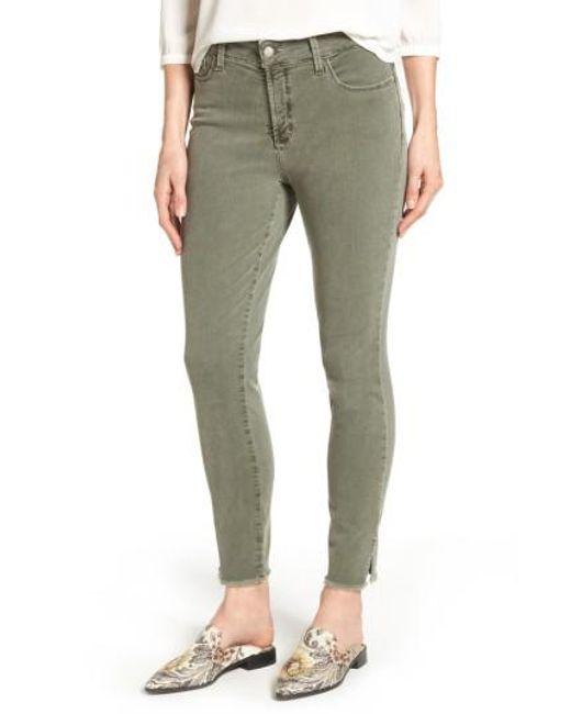 NYDJ | Green Ami Frayed Hem Stretch Skinny Ankle Jeans | Lyst