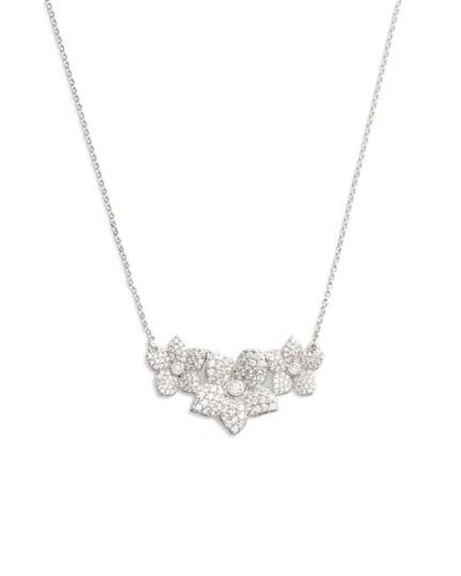 Kate Spade - Metallic Blooming Pave Pendant Necklace - Lyst