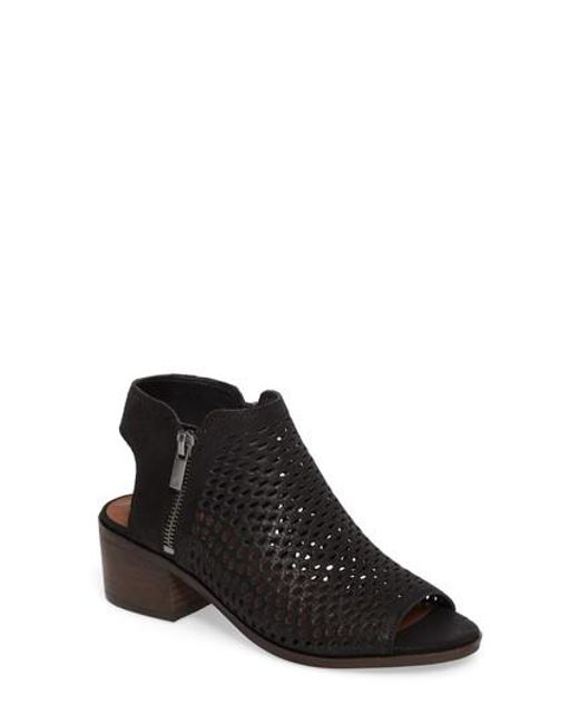 Lucky Brand | Black Nelwyna Perforated Bootie Sandal | Lyst