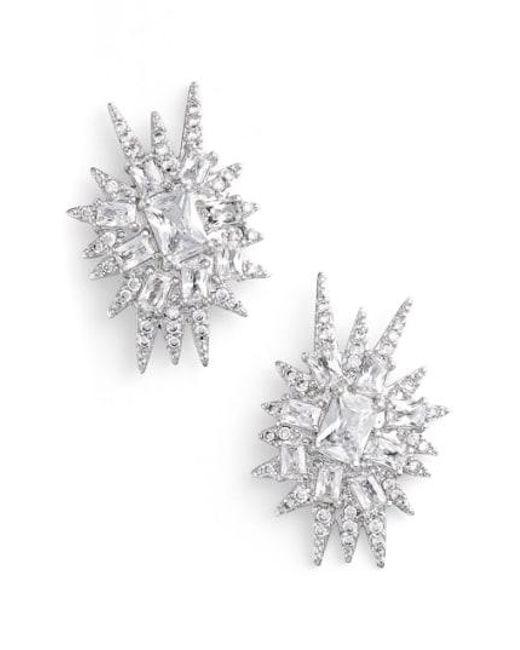 CZ by Kenneth Jay Lane - Metallic 'explosion' Cubic Zirconia Stud Earrings - Lyst