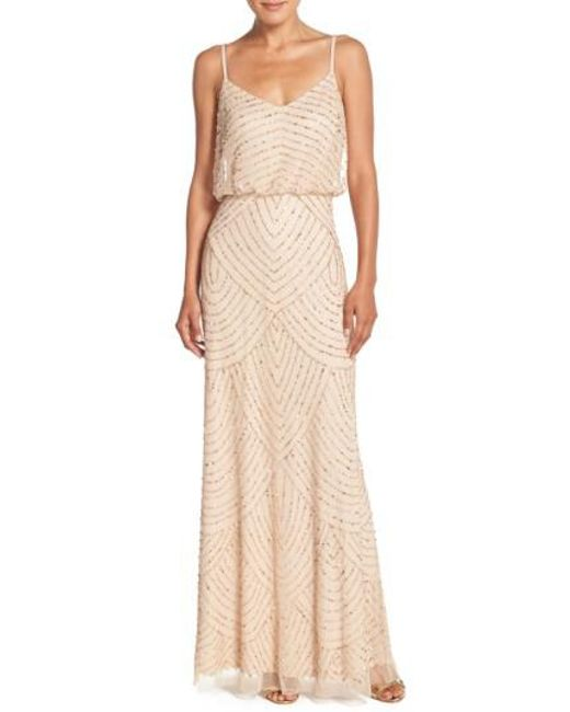 Adrianna Papell | Brown Embellished Blouson Gown | Lyst