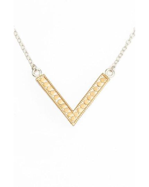 Anna Beck | Metallic Reversible V Necklace | Lyst