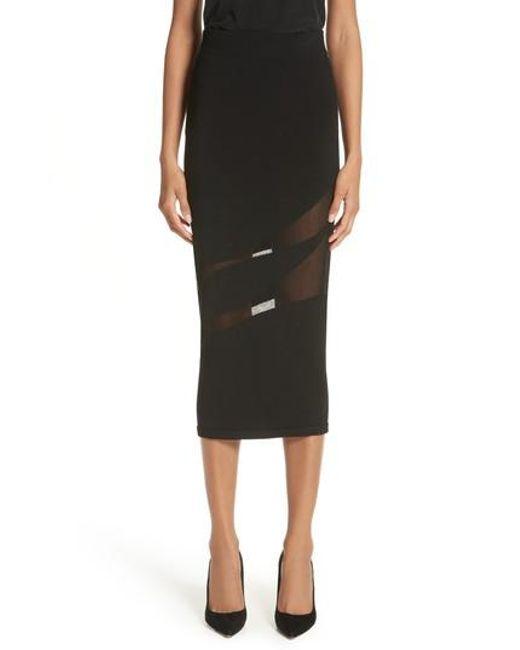 Cushnie et Ochs - Black Sheer Inset Pencil Skirt - Lyst